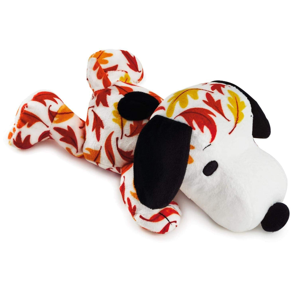 Hallmark  Peanuts Snoopy Fall Leaves Print Floppy Stuffed Animal, 11""
