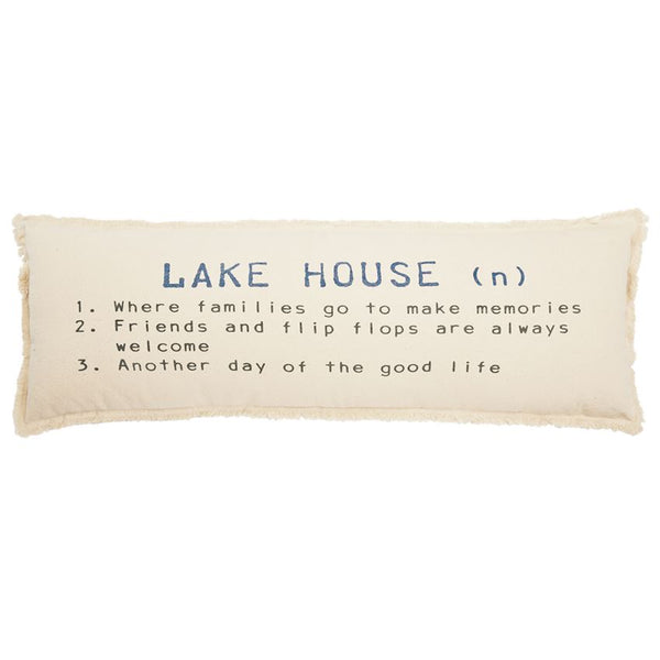 "Mud Pie Lake House Definition Pillow 12"" X 36"""