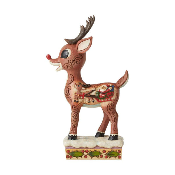 Enesco Rudolph Traditions by Jim Shore Rudolph with Sleigh Scene Figurine