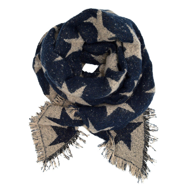 Pudus Women's Warm Blanket Scarf with Reversible Star Pattern, Oversized Shawls and Wraps for Winter and Fall Navy/Cream Stars