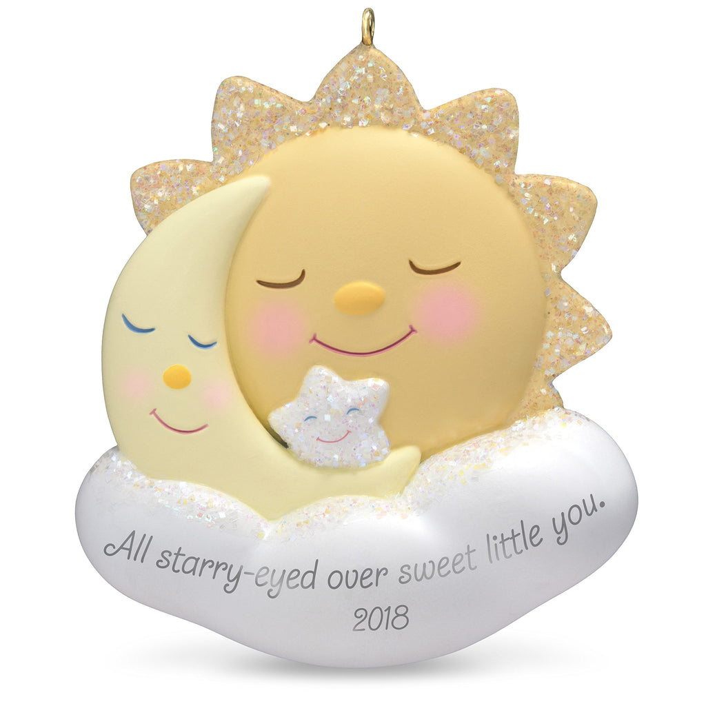 Hallmark Keepsake Christmas Ornament 2018 Year Dated, Starry-Eyed Over You Sun, Moon and Star, New Parents