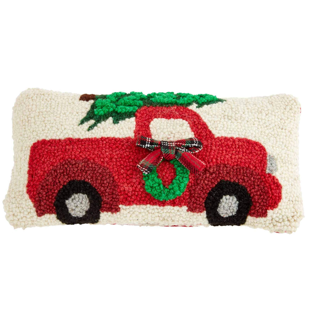 Mud Pie Truck Mini Xmas Hooked Pillow, Beige and Red