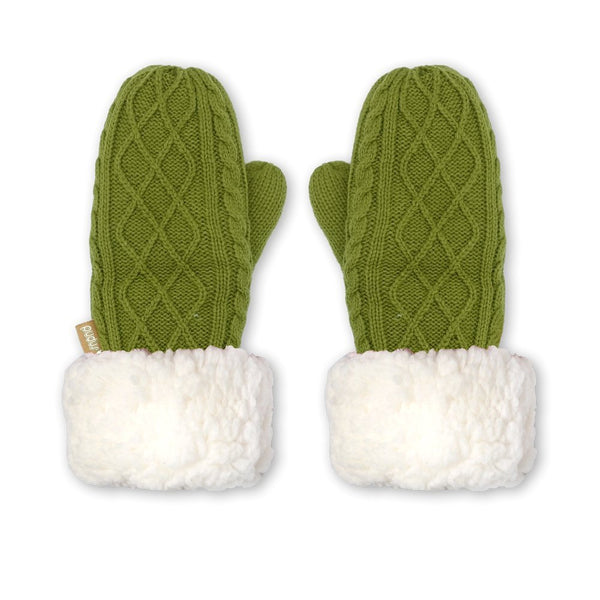 Pudus Chenille Cable Knit Winter Mittenss for Women, Fleece-Lined Warm Gloves Cable Knit Green