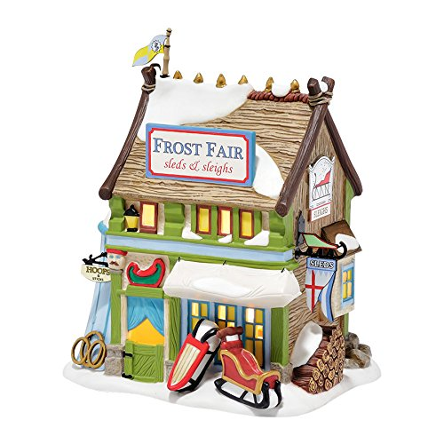 Department 56 Dickens Village Frost Fair Sled & Sleigh Rental Light House, 6.1""