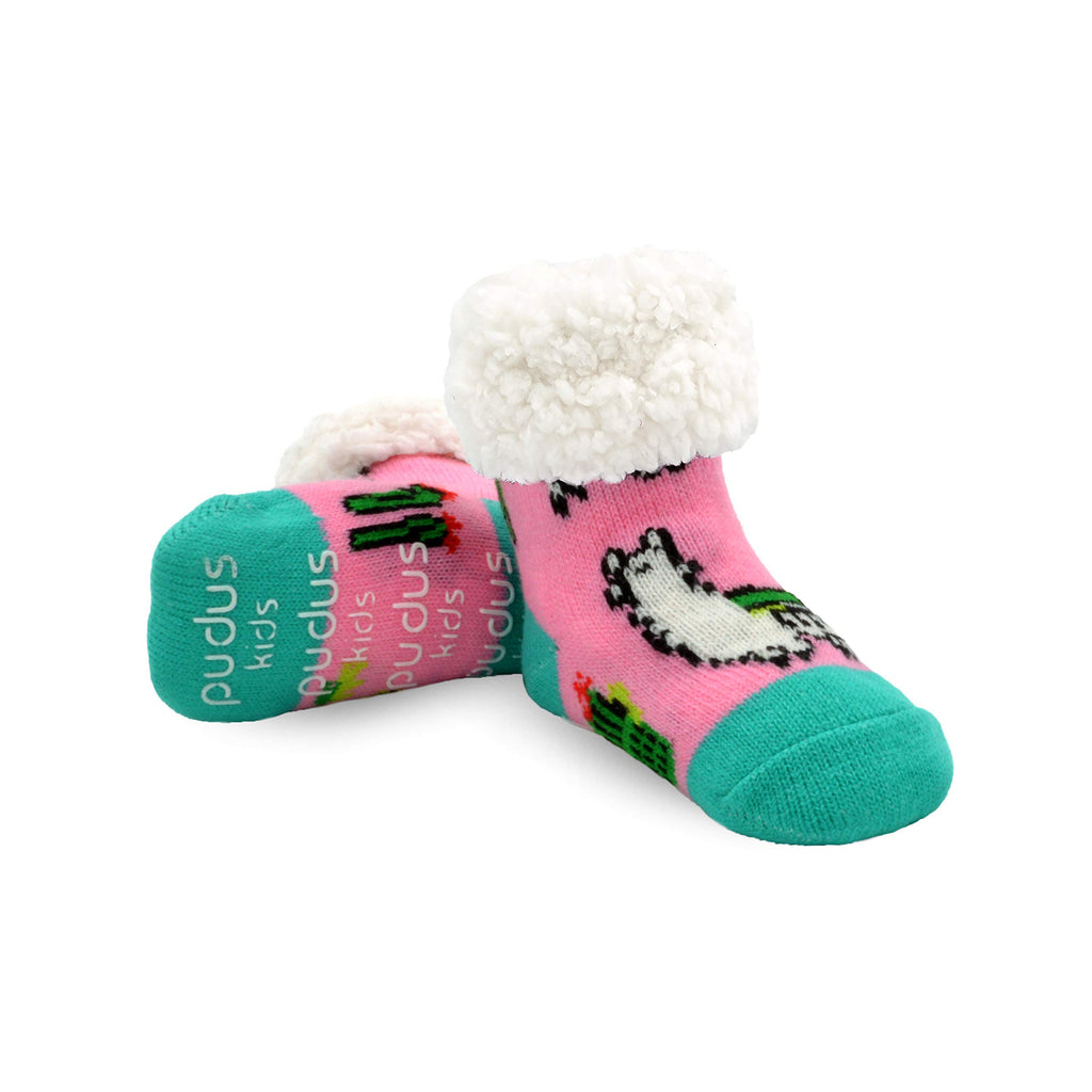 Pudus Cozy Kids & Toddler Slipper Socks with Non-Slip Grippers & Warm Fleece Lining Classic Llama Pink Kids