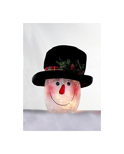 "Stony Creek 3"" Snowman Lighted Jar with Hat, SSX7252 (Black Hat)"