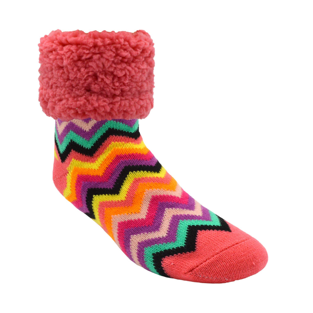 Pudus Cozy Winter Slipper Socks Women & Men w Non-Slip Grippers Faux Fur Sherpa Coral Chevron