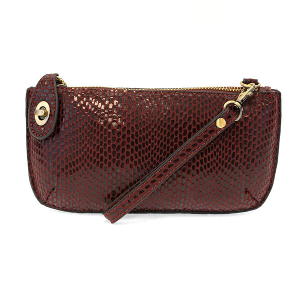 Joy Susan Python Mini Crossbody Wristlet Clutch (Burgundy)