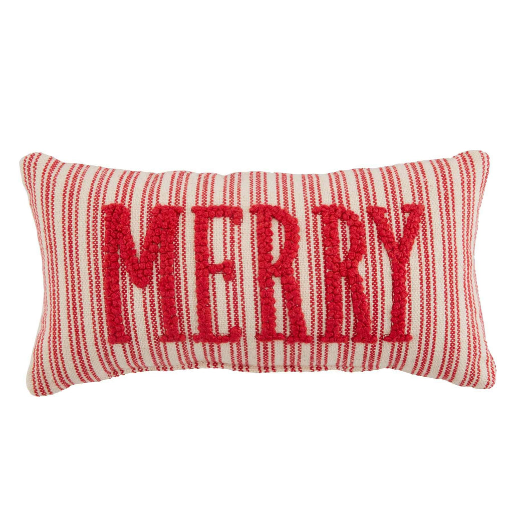 Mud Pie Merry Small Knotted Pillow, Red, White