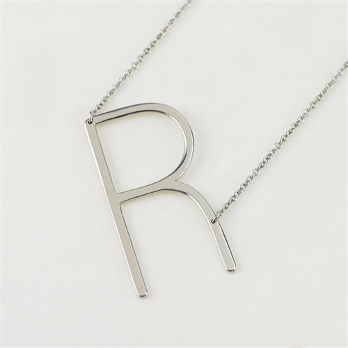 Cool And Interesting Silver Large Sideways Initial Necklace - R