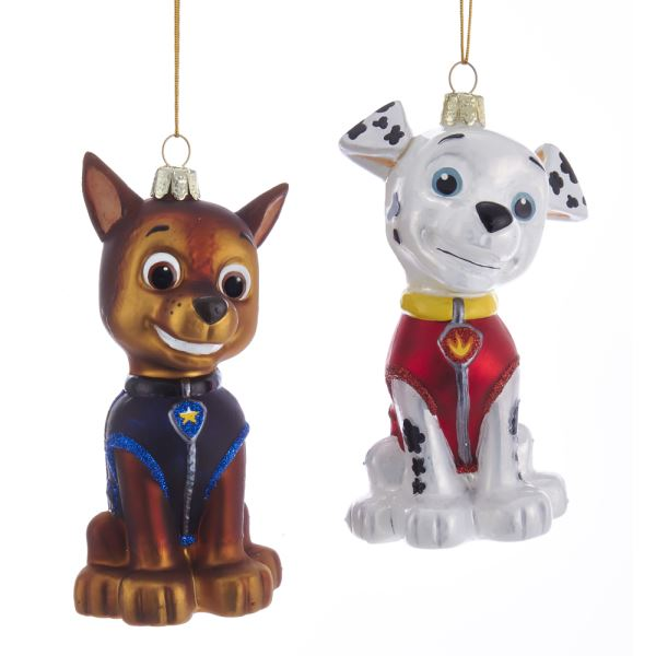 Kurt Adler Paw Patrol Marshall and Chase Glass Ornaments, Set of 2