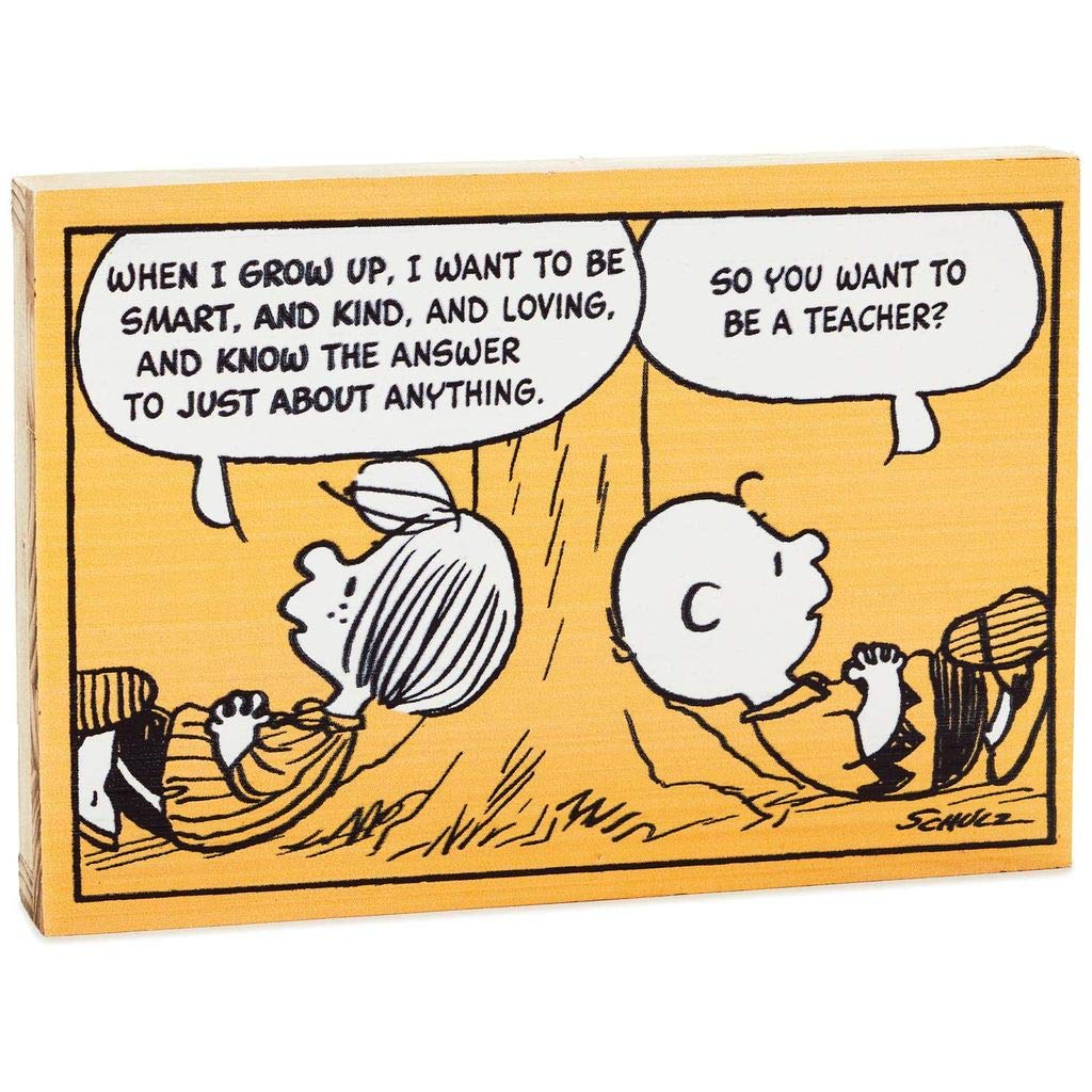 HMK Peanuts I Want to Be a Teacher Wood Sign