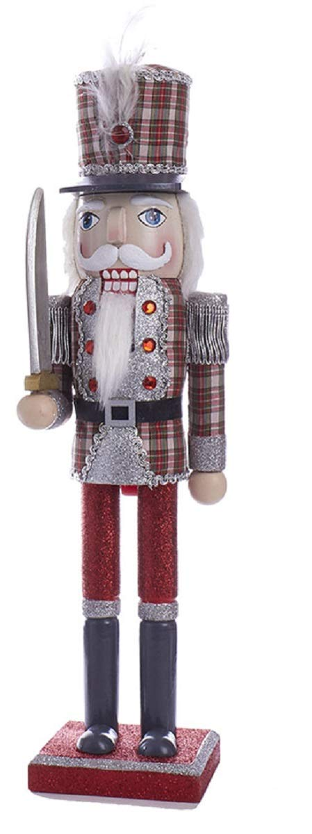 "Kurt Adler C4874 15"" Red and Grey Plaid Soldier Nutcracker with Plaid Hat"