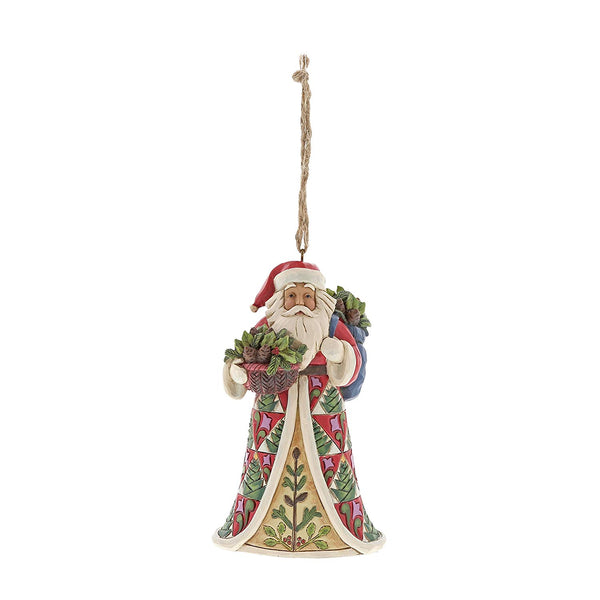 Enesco  Jim Shore Heartwood Creek Pinecone Santa Ornament