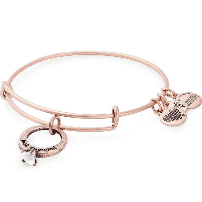 Alex and Ani Just Engaged Charm Bangle, Rose Gold
