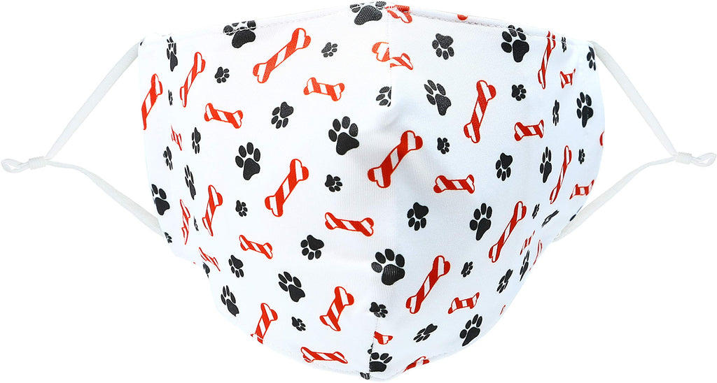 Pavilion - Pet Paw Print & Candy Cane Bone Christmas Cat/Dog - Adult/Teen - Cotton & Polyester Reusable Fabric Face Mask with Filter Pocket