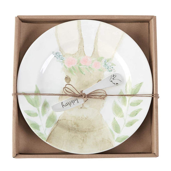 Mud Pie Watercolor Bunny Cheese Set of 2