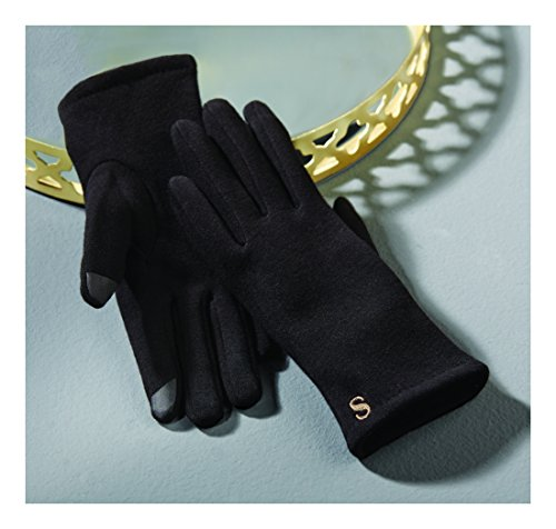 "Mud Pie Fashion Women's Chelsea Initial ""L"" Gloves, Black"