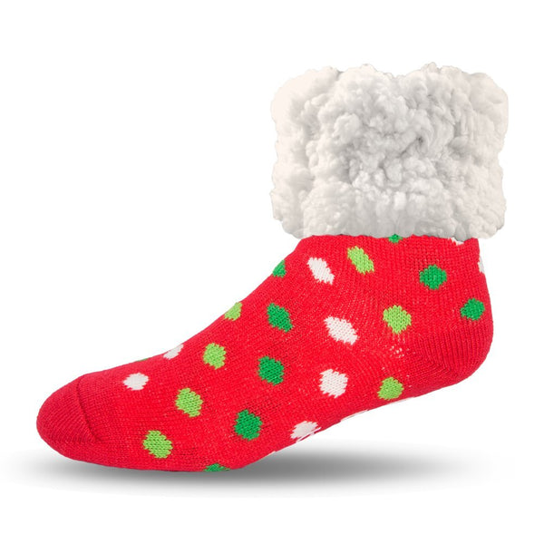 Pudus Cozy Holiday Winter Slipper Socks Women & Men w Non-Slip Grippers Faux Fur Sherpa Classics Red Polka Dot