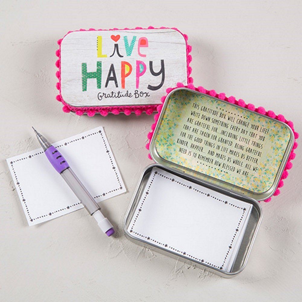 "Natural Life Inspirational ""Live Happy"" Gratitude Prayer Box with Pencil and Notecards"