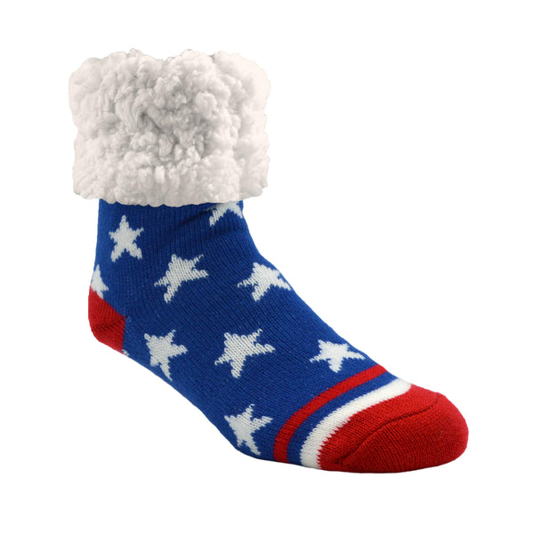 Pudus Cozy Winter Slipper Socks Women & Men w Non-Slip Grippers Faux Fur Sherpa Classic Stars & Stripes