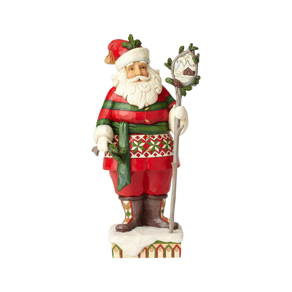 Jim Shore Heartwood Creek Woodsy Santa w/Scene in Staff