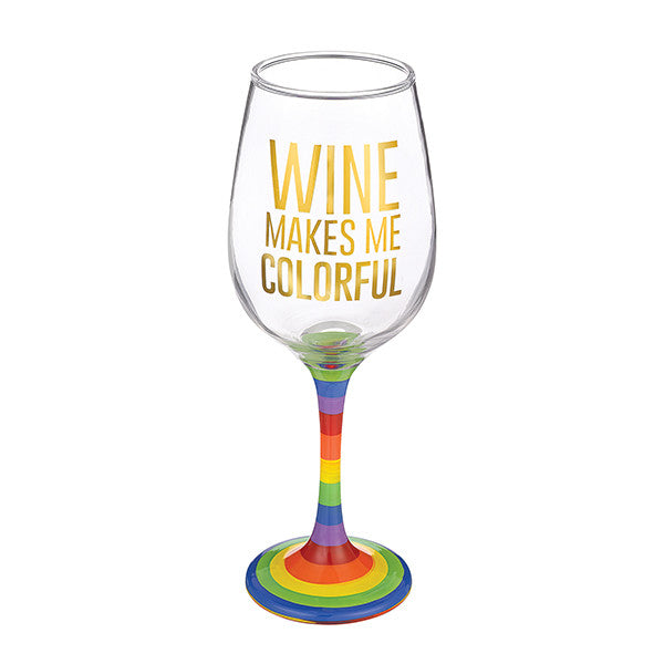 "Grassland Road""Wine Makes Me Colorful"" Wine Glass"