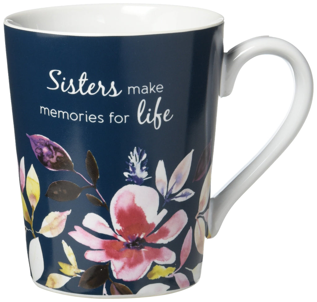 Flora by Stephanie Ryan Sisters Make Memories for Life Navy Blue Floral 14 oz Ceramic Coffee Mug Tea Cup, Blue