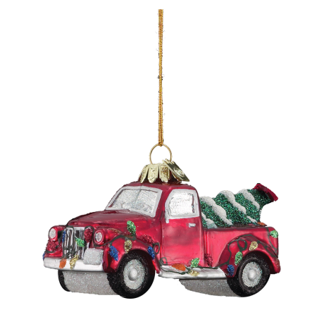 Kurt Adler Noble Gems℠Truck With Christmas Tree Glass Ornament, 4""