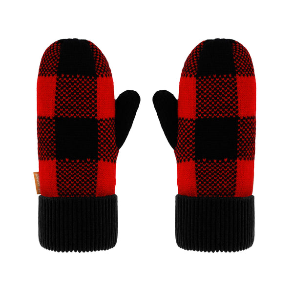 Pudus Kids Winter Knit Mittens, Fuzzy Sherpa-Lined Warm Gloves for Boys & Girls Lumberjack Red - Kids