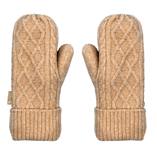Pudus Chenille Cable Knit Winter Mittenss for Women, Fleece-Lined Warm Gloves Cable Knit Sand Chenille