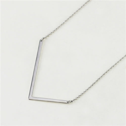 Cool And Interesting Silver Large Sideways Initial Necklace - L