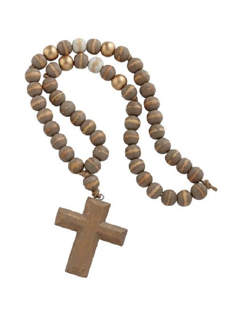 Mud Pie Cross Pendant Décorative Decorative Beads Grey, Gold