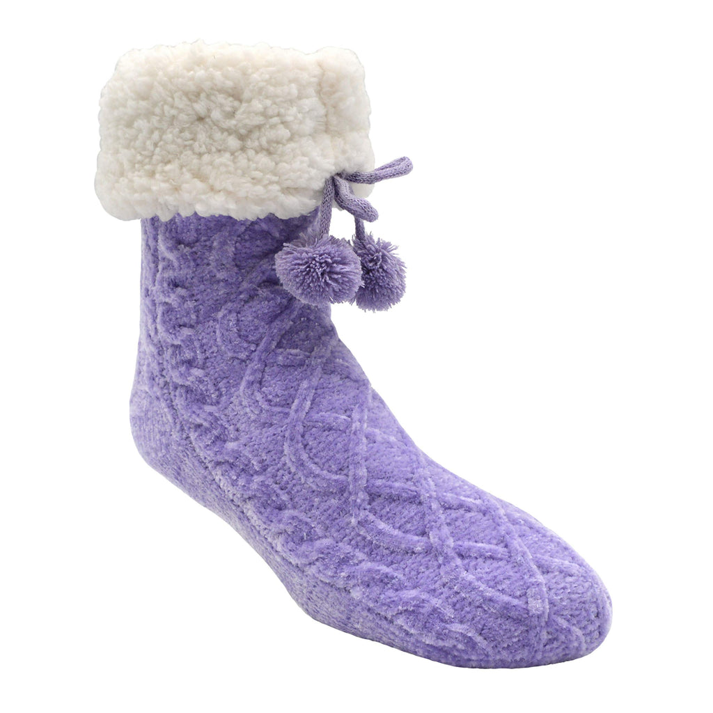Pudus Slipper Socks Women w/Non-Slip Grippers, Faux Fur Sherpa Fleece Lining Chenille Cable Knit Lavender