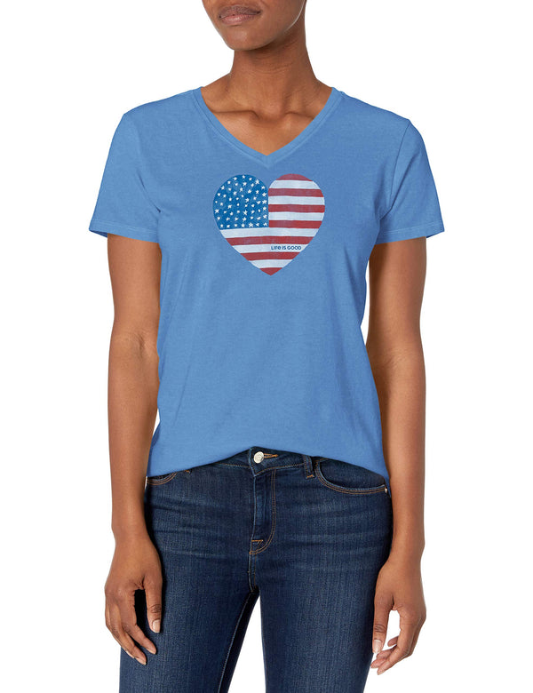 Life is Good Womens Crusher America Graphic V-Neck T-Shirt, Flag Vintage Blue, Medium