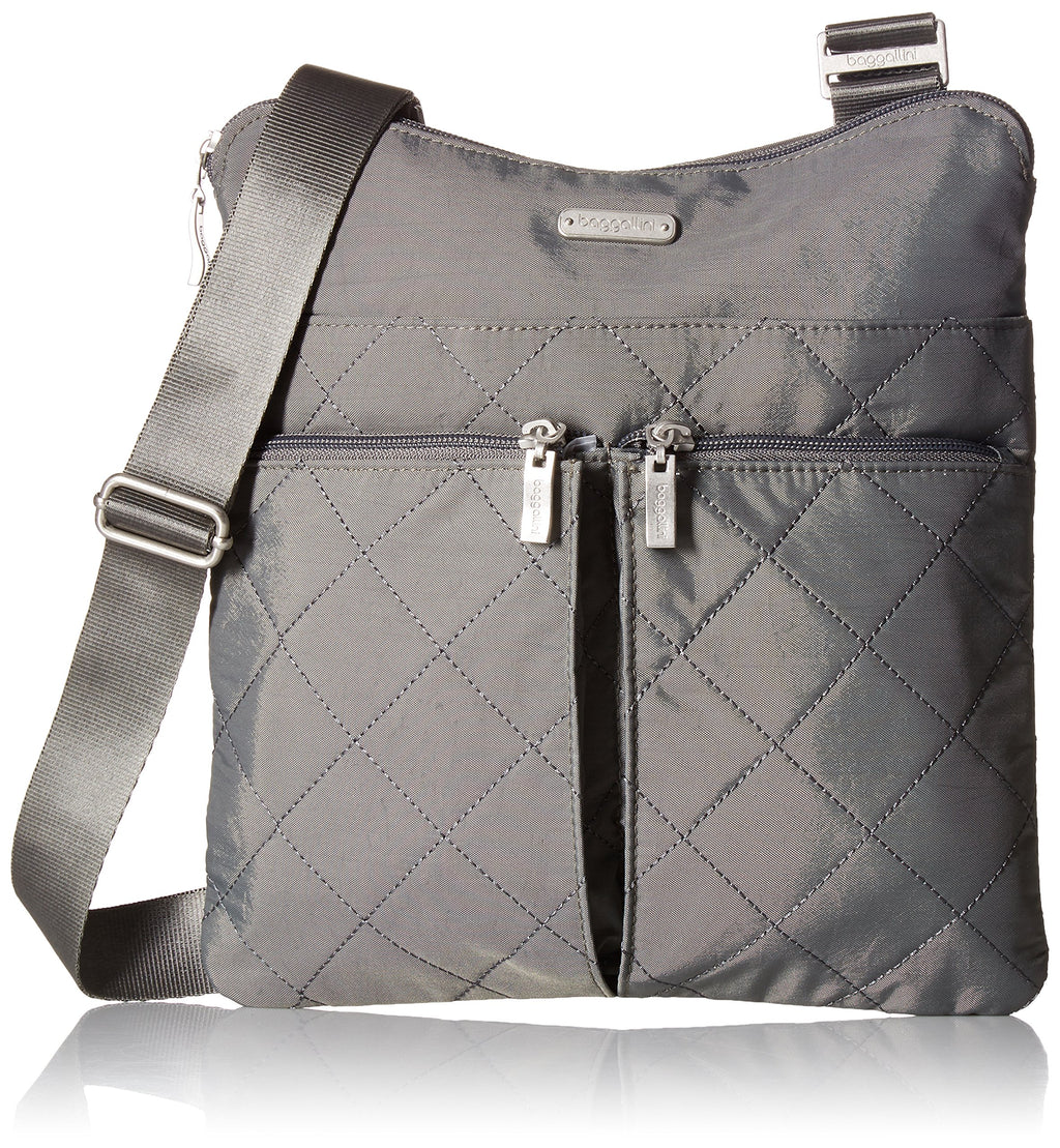 Baggallini Quilted Horizon Crossbody with Rfid, Pewterquilt