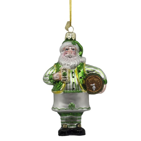 Kurt Adler Noble Gems℠Glass Irish Santa With Beer Ornament, 5""