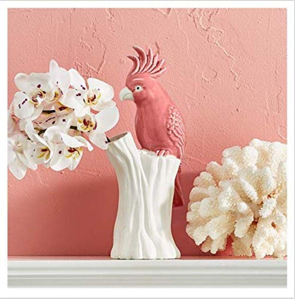 Two's Company Pink Parrot Vase