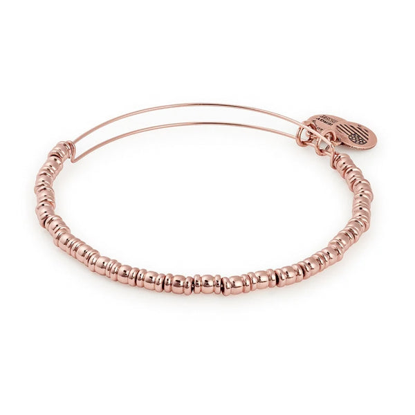 Alex and Ani Rocker Beaded Bangle Shiny Rose Gold