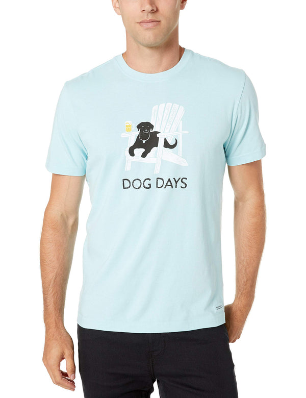 Life is Good Mens Crusher Pet Graphic T-Shirt, dog Beach Blue, Large