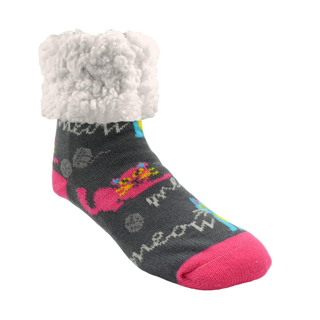 Pudus Cozy Winter Slipper Socks Women & Men w Non-Slip Grippers Faux Fur Sherpa Cat Meow