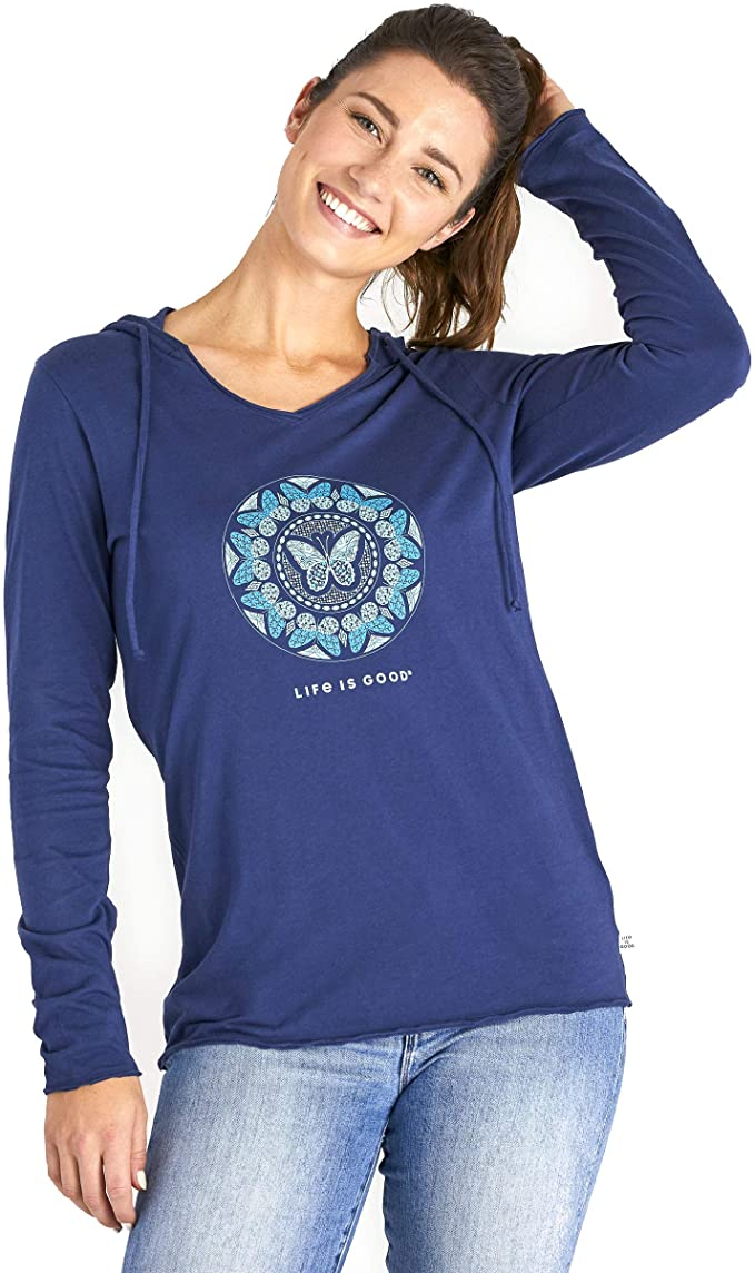 Life is Good LIG Butterfly Coin Long Sleeve Hooded Smooth Tee Darkest Blue LG (US 12-14)