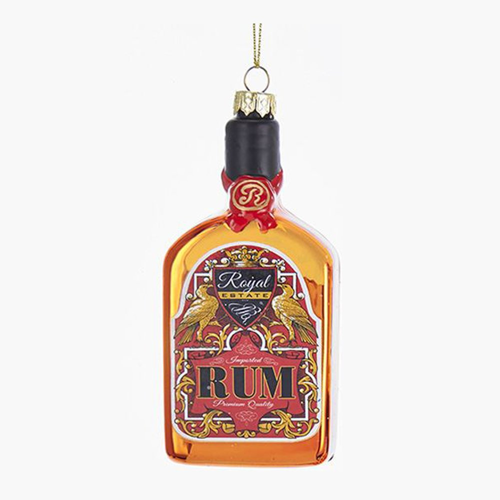 Kurt Adler Bottle of Rum Glass Ornament, 5""