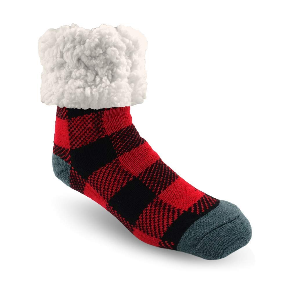 Pudus adult regular cozy winter classic slipper socks with grippers Lumberjack Red