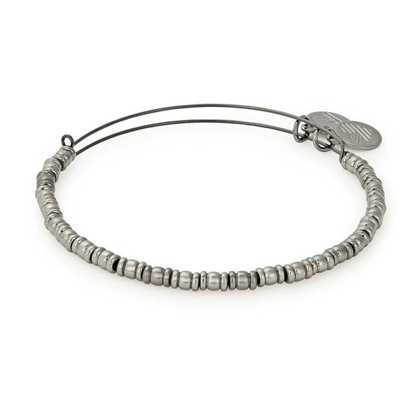 Alex and Ani Rocker Beaded Bangle Midnight Silver
