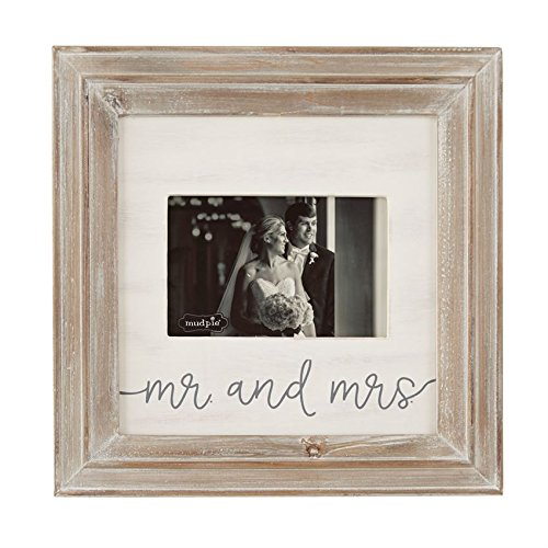 "Mud Pie Mr. Mrs. Small Wood Frame holds 4"" x 6"" photo"