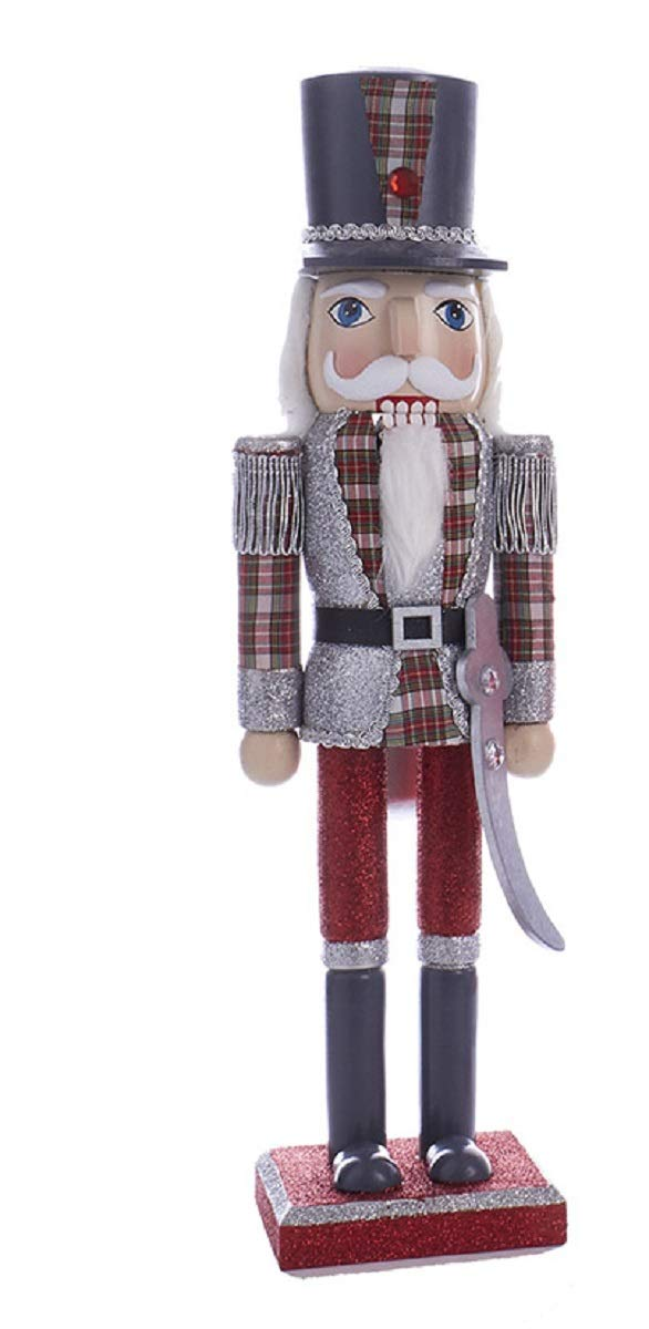 "Kurt Adler C4874 15"" Red and Grey Plaid Soldier Nutcracker with Gray Hat"