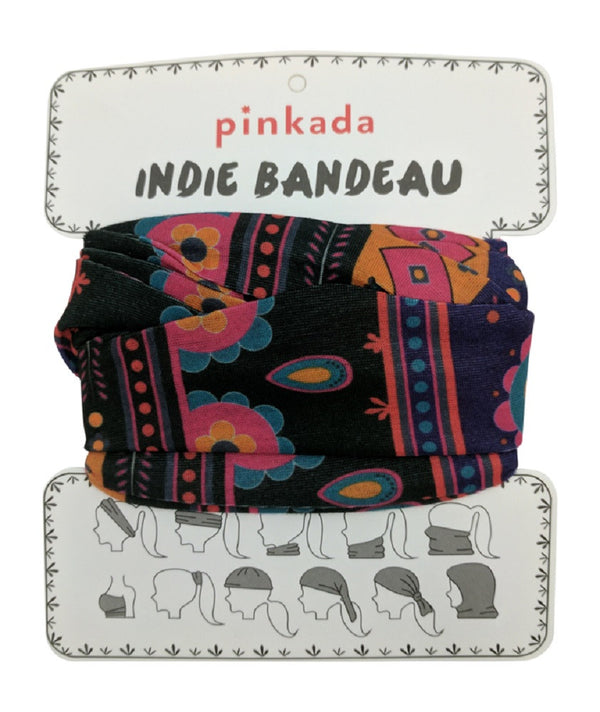 Pinkada Indie Bandeau (	Pattern Black,Purple)