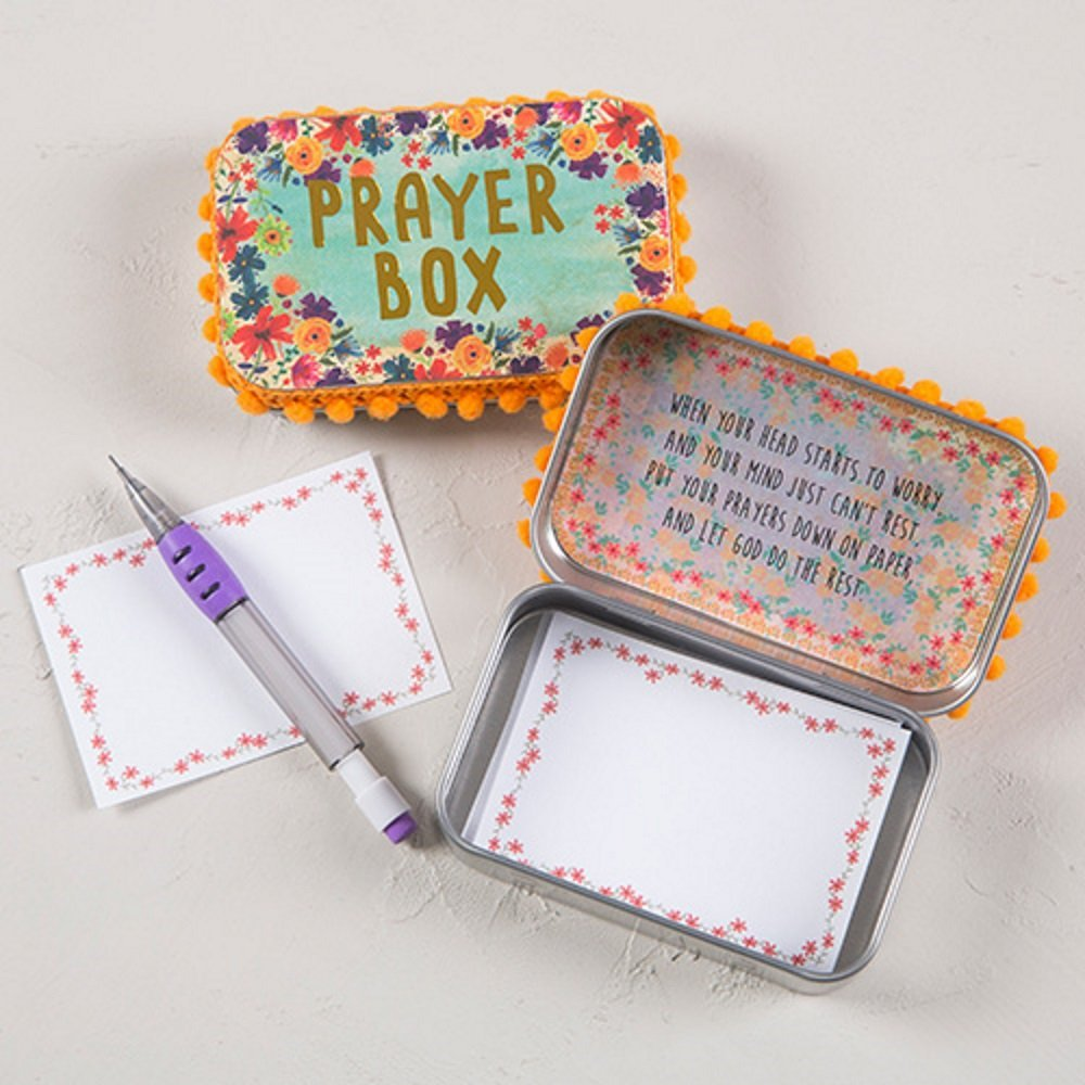 Natural Life Floral Orange Prayer Box and Notecards