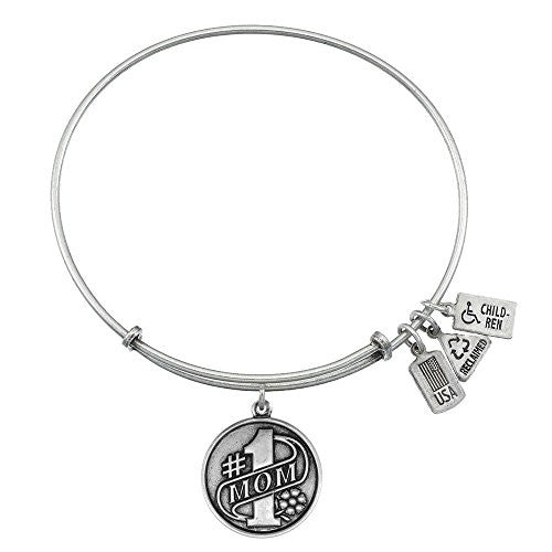 WIND AND FIRE #1 MOM CHARM WITH BANGLE WF377 (SILVER TONE)